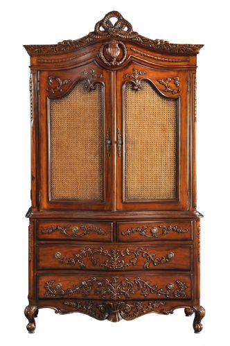 Rattan Linen Press Cabinet or Wardrobe